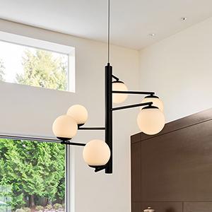 Capri Black Six-Light LED Chandelier