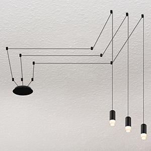 Expression Black Three-Light LED Semi Flush Mount