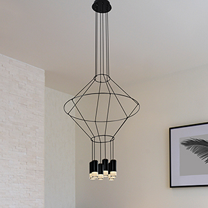 Expression Black 24-Inch Six-Light LED Pendant
