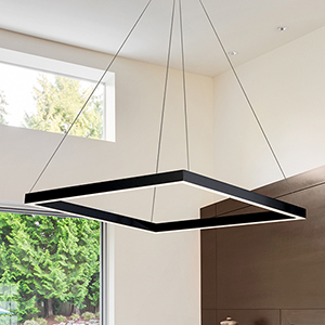 Atria Black LED Adjustable Square Chandelier