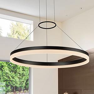 Tania Black 24-Inch LED Adjustable Chandelier