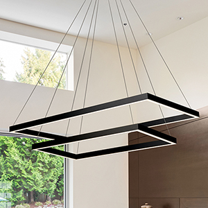 Atria Duo Black LED Adjustable Chandelier