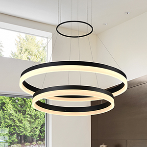 Tania Duo Black 24-Inch LED Adjustable Chandelier