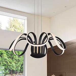 Capella Black 30-Inch LED Adjustable Chandelier