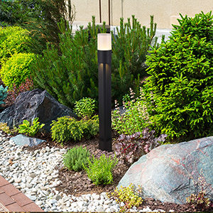 Matt Black and Frosted Glass 32-Inch 12V LED Outdoor Bollards