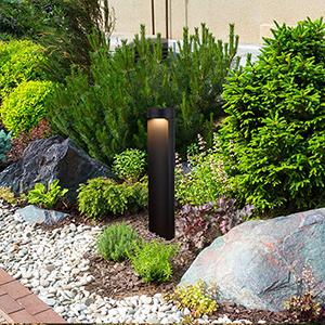 Matt Black and Clear Glass 24-Inch 5Watt 12V LED Outdoor Bollards