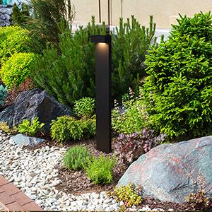 Matt Black and Clear Glass 32-Inch 12V LED Outdoor Bollards