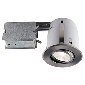 510 LED Brushed Chrome Recessed Lighting Kit, Set of Four