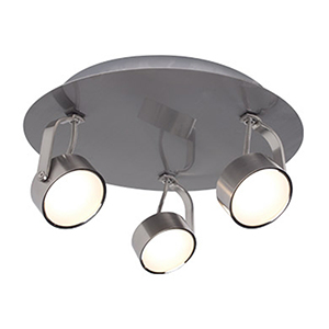 Focus Brushed Chrome Three-Light LED Flush Mount