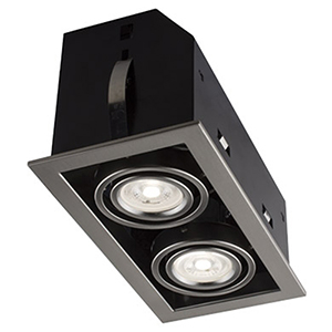Cube Brushed Chrome Two-Light LED Recessed Lighting Kit