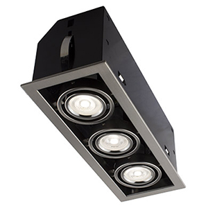 Cube Brushed Chrome Three-Light LED Recessed Lighting Kit