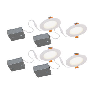 STAK Matte White 5-Inch Integrated LED Recessed Fixture, Pack of 4