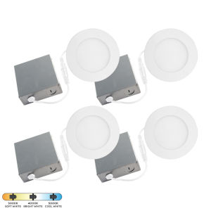 SLIM Matte White LED Recessed Fixture, Pack of 4