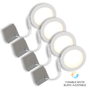 White Wi-Fi LED Recessed Fixture Kit, Pack of 4
