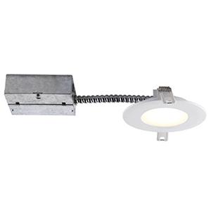 Slim Matte White Round LED Recessed Lighting Kit, Set of Four