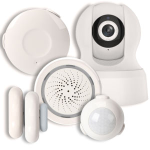 White Smart Wi-Fi Condo Alarm Kit with 720p Camera