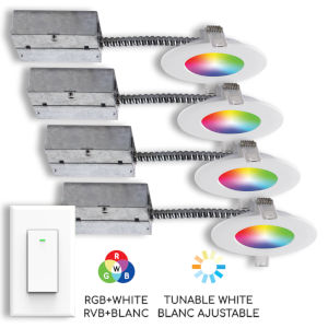 Matte White Wi-Fi RGB LED Recessed Fixture Kit-White with Swith, Pack of 4