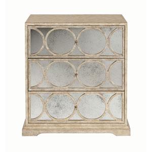 Interiors Sand Maple Veneers and Mirrored Glass Nightstand