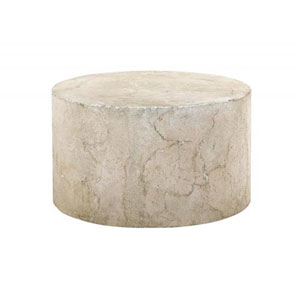 Interiors Antique Mactan Crushed Limestone and Concrete Exterior Cocktail Table
