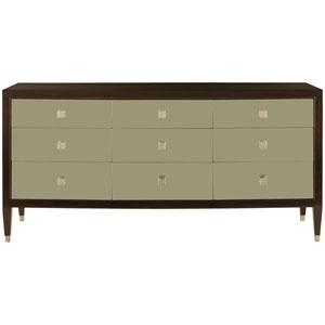 Interiors Ebonized, Champagne and White Gold Walnut Veneers and Metal Dresser