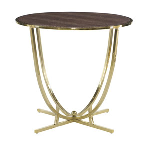 Jet Set Brass Plated Tubular Steel and Leather End Table