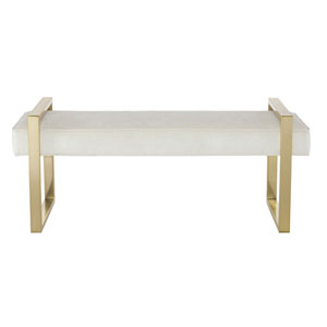 Jet Set Brass Plated Tubular Steel, Fabric and Wood Bench