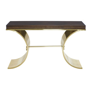 Jet Set Brass Plated Sapele Veneers, Solid and Tubular Steel Console Table