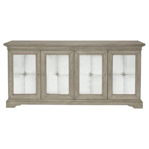 Marquesa Gray Cashmere White Oak Veneers and Mirrored Glass Buffet