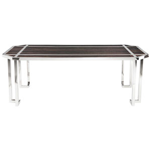 Interiors Tuxedo and Silver Engineered Faux Ebony Veneers and Stainless Steel Dining Table