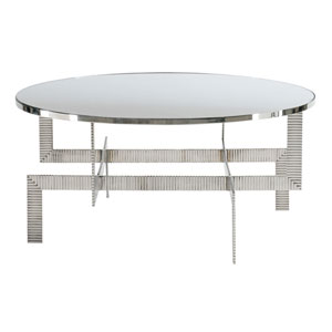 Interiors Silver Stainless Steel and Mirrored Glass Cocktail Table