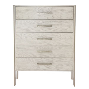 Interiors Light Truffle and Tarnished Nickel White Oak Veneers and Tubular Steel Chest
