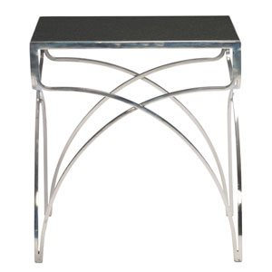 Interiors Nickel Plated and Black  Granite and Stainless Steel End Table