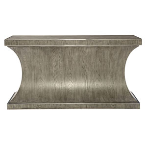 Interiors Rustic Gray White Oak Veneers and Stainless Steel Console Table
