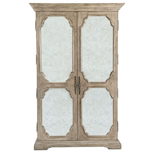 Campania Weathered Sand White Oak Veneers and Mirrored Glass Armoire