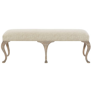 Campania Weathered Sand Wood and Fabric Bench