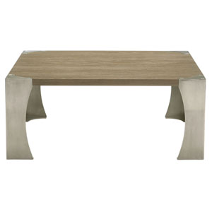 Interiors Rustic Sand White Oak Veneers and Nickel Plated Stainless Steel Cocktail Table
