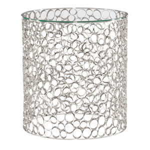 Interiors Silver and Clear Stainless Steel and Glass End Table