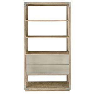 Interiors Rustic Sand and Tarnished Nickel 44-Inch Etagere