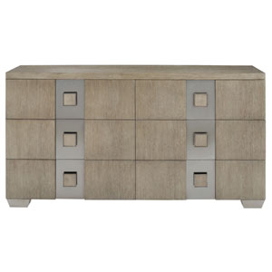Mosaic Dark Taupe White Oak Veneers and Plated Brushed Stainless Steel Dresser