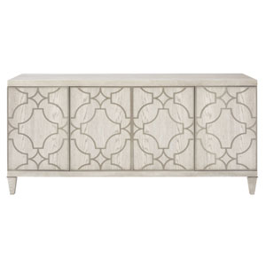 Domaine Blanc Dove White and Tarnished Nickel 75-Inch Entertainment Console