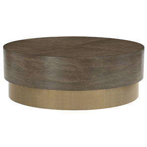 Profile Warm Taupe and Tapestry Gold Walnut Veneers and Plated Brass Cocktail Table