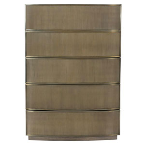 Profile Tapestry Gold Walnut Veneers and Stainless Steel Chest