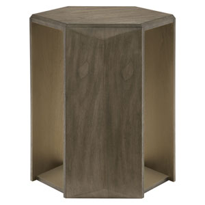 Profile Warm Taupe and Tapestry Gold Walnut Veneers Chairside Table