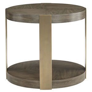 Profile Warm Taupe and Tapestry Gold Walnut Veneers and Stainless Steel Chairside Table