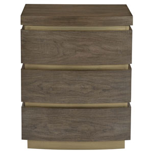 Profile Warm Taupe and Tapestry Gold Walnut Veneers Nightstand