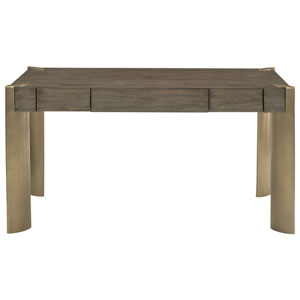 Profile Warm Taupe and Tapestry Gold Walnut Veneers and Stainless Steel Desk