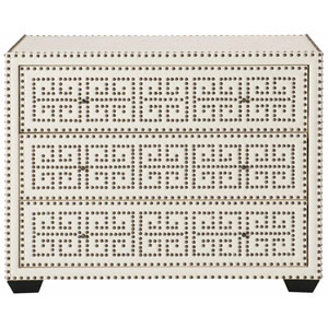 Interiors White and Antique Nickel Wood, Leather and Metal Chest