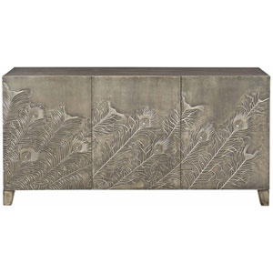 Interiors Tarnished German Silver Reclaimed Teak Entertainment Console