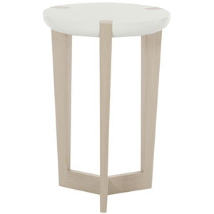 Axiom Linear Gray and White Linen Plaster 16-Inch Chairside Table