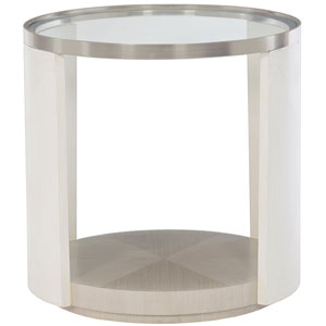 Axiom Linear Gray, Linear White and Brushed Silver 24-Inch Chairside Table